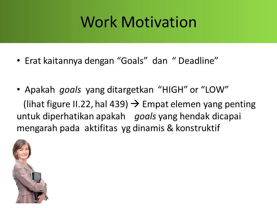 """Work Motivation Erat kaitannya dengan """"Goals"""" dan """" Deadline"""" Apakah goals yang ditargetkan """"HIGH"""" or """"LOW"""" (lihat figure II.22, hal 439)  Empat elem"""