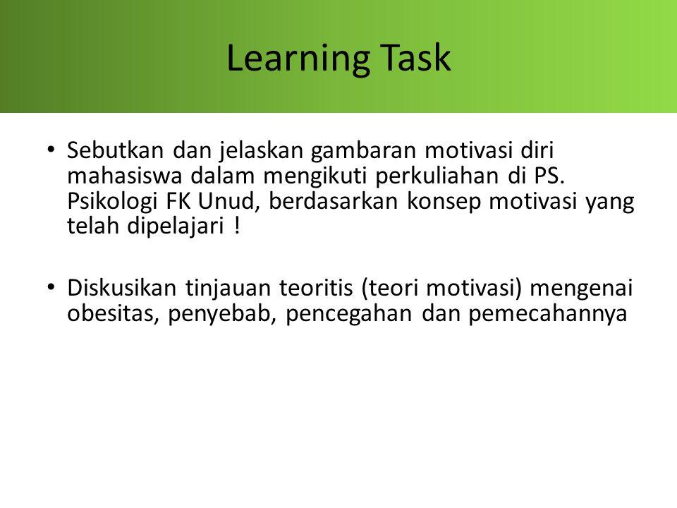 Learning Task Sebutkan dan jelaskan gambaran motivasi diri mahasiswa dalam mengikuti perkuliahan di PS. Psikologi FK Unud, berdasarkan konsep motivasi