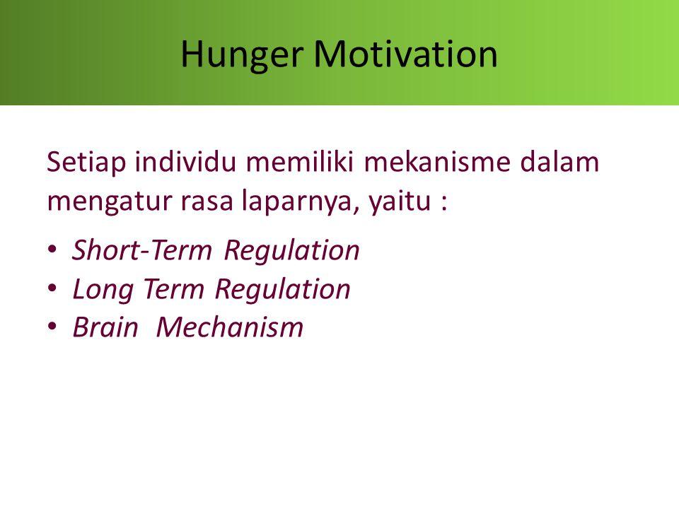 Hunger Motivation Short-Term Regulation Pada situasi umum, faktor utama yang mempengaruhi 'berhentinya' seseorang utk makan adalah adanya rasa distension diperut Kita merasa 'full' karena digestive system sudah 'menegaskan' bahwa memang sudah 'full'