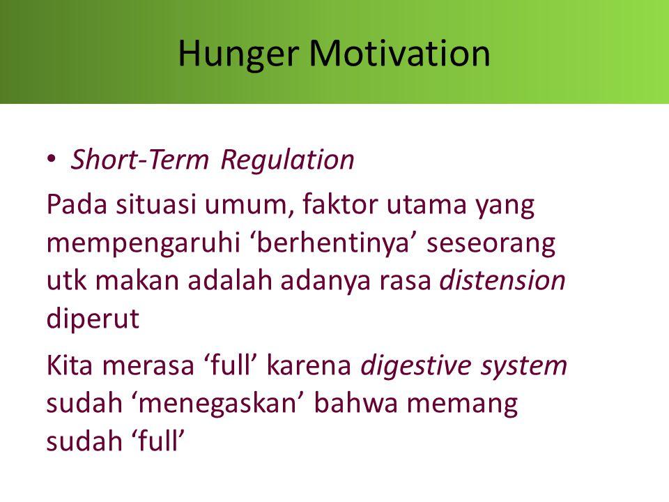 Hunger Motivation Long-Term Regulation -Tergantung dari jumlah kalori yang di-asup, individu dapat makan 'lebih banyak' atau 'lebih sedikit' tergantung kebutuhannya - overeat  less hungry - undereat  more hungry (feeling hungrier)