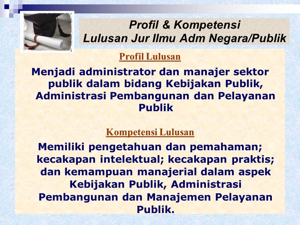 Misi Jur. Ilmu Adm Negara/Publik Menyelenggarakan pendidikan tinggi dalam ilmu administrasi publik yang mampu menghasilkan sumber daya manusia yang be
