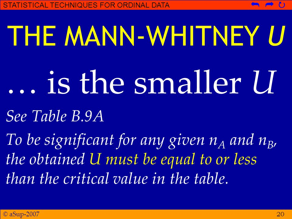 © aSup-2007 STATISTICAL TECHNIQUES FOR ORDINAL DATA   20 THE MANN-WHITNEY U … is the smaller U See Table B.9A To be significant for any given n A and n B, the obtained U must be equal to or less than the critical value in the table.