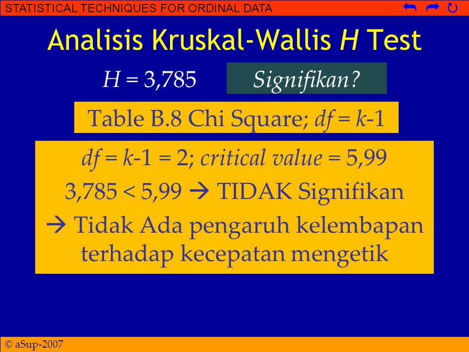 © aSup-2007 STATISTICAL TECHNIQUES FOR ORDINAL DATA   Analisis Kruskal-Wallis H Test H = 3,785Signifikan? Table B.8 Chi Square; df = k-1 df = k-1 =