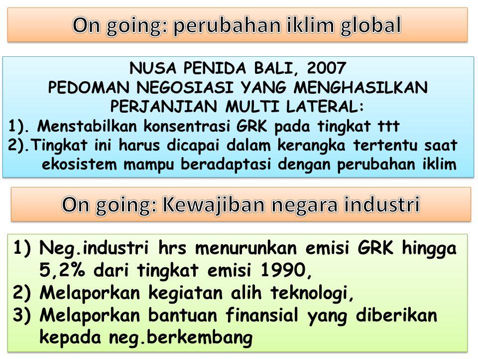 NUSA PENIDA BALI, 2007 PEDOMAN NEGOSIASI YANG MENGHASILKAN PERJANJIAN MULTI LATERAL: 1). Menstabilkan konsentrasi GRK pada tingkat ttt 2).Tingkat ini