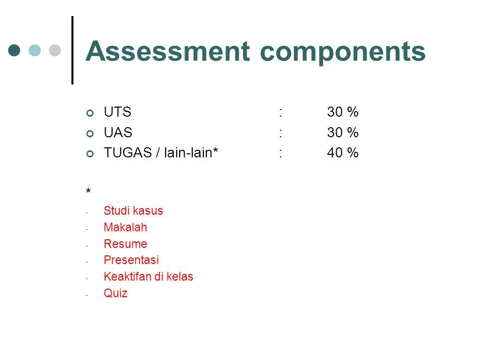 Assessment components UTS : 30 % UAS :30 % TUGAS / lain-lain* :40 % * - Studi kasus - Makalah - Resume - Presentasi - Keaktifan di kelas - Quiz
