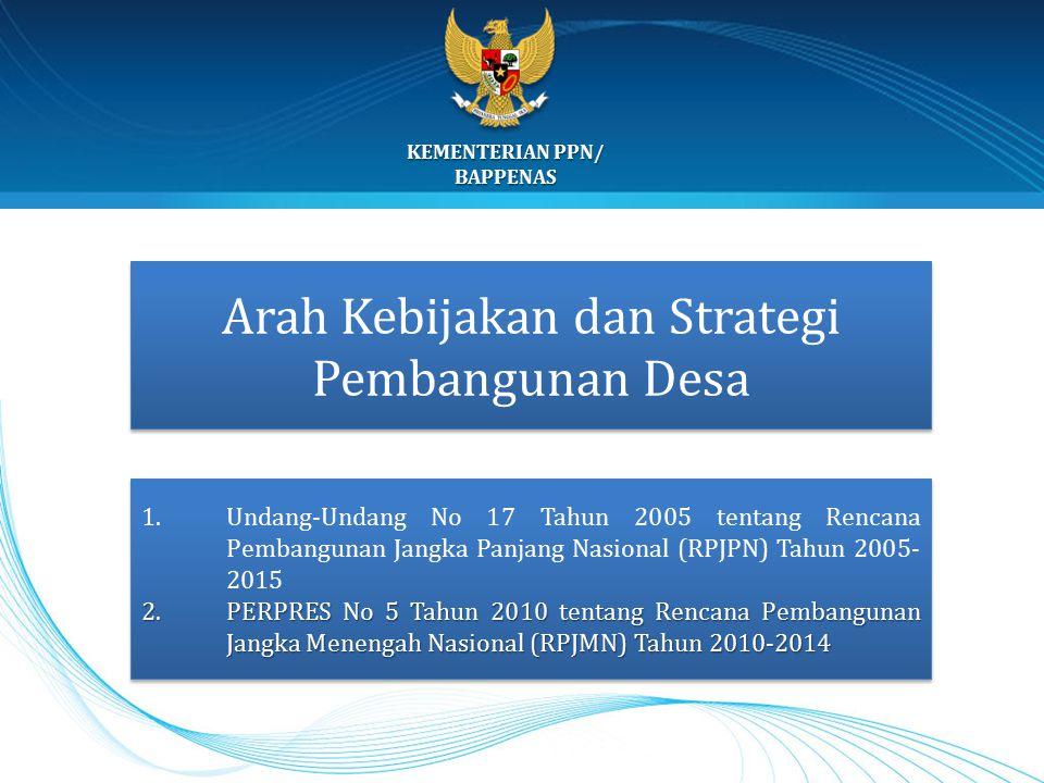 KEMENTERIAN PPN/ BAPPENAS 15 Arah Kebijakan dan Strategi Pembangunan Desa 1.Undang-Undang No 17 Tahun 2005 tentang Rencana Pembangunan Jangka Panjang