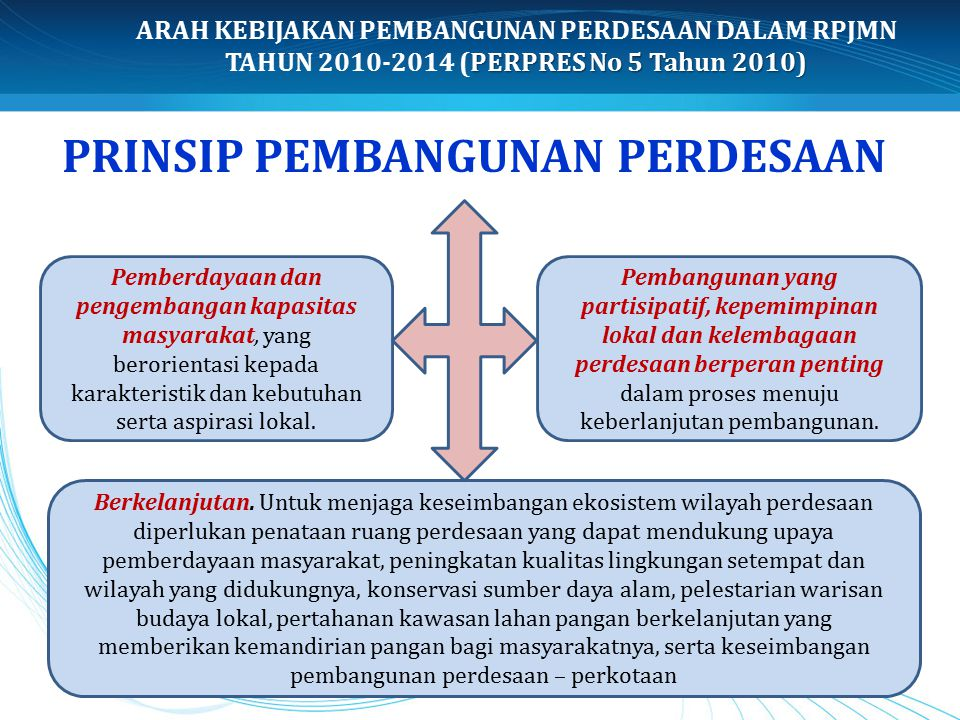 PRINSIP PEMBANGUNAN PERDESAAN Pemberdayaan dan pengembangan kapasitas masyarakat, yang berorientasi kepada karakteristik dan kebutuhan serta aspirasi