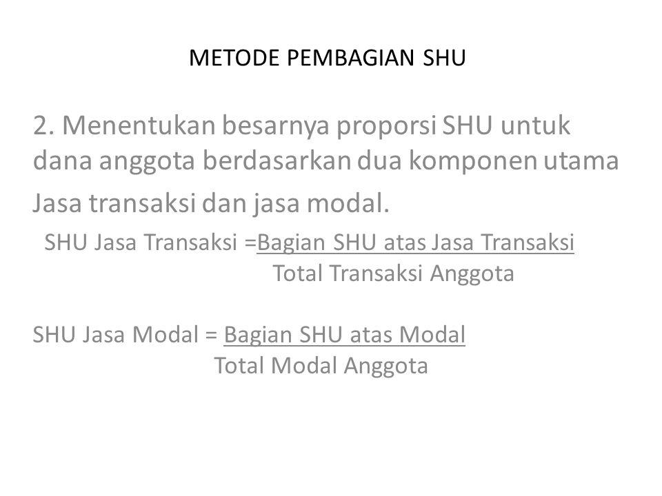 METODE PEMBAGIAN SHU 2. Menentukan besarnya proporsi SHU untuk dana anggota berdasarkan dua komponen utama Jasa transaksi dan jasa modal. SHU Jasa Tra