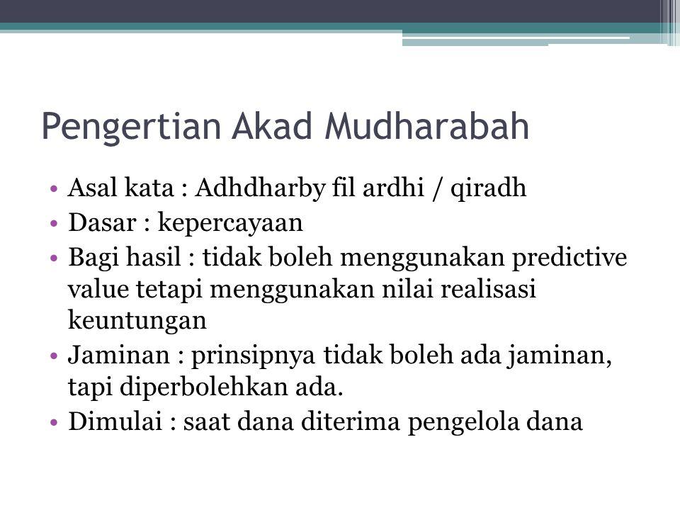 Pengertian Akad Mudharabah Asal kata : Adhdharby fil ardhi / qiradh Dasar : kepercayaan Bagi hasil : tidak boleh menggunakan predictive value tetapi m