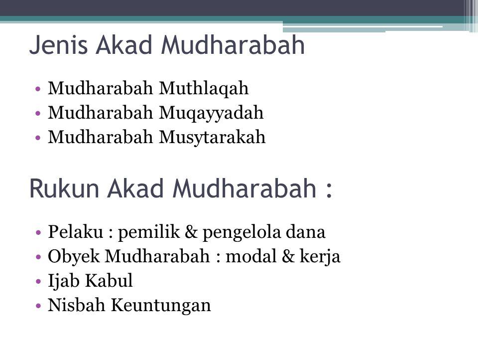 Jenis Akad Mudharabah Mudharabah Muthlaqah Mudharabah Muqayyadah Mudharabah Musytarakah Rukun Akad Mudharabah : Pelaku : pemilik & pengelola dana Obyek Mudharabah : modal & kerja Ijab Kabul Nisbah Keuntungan