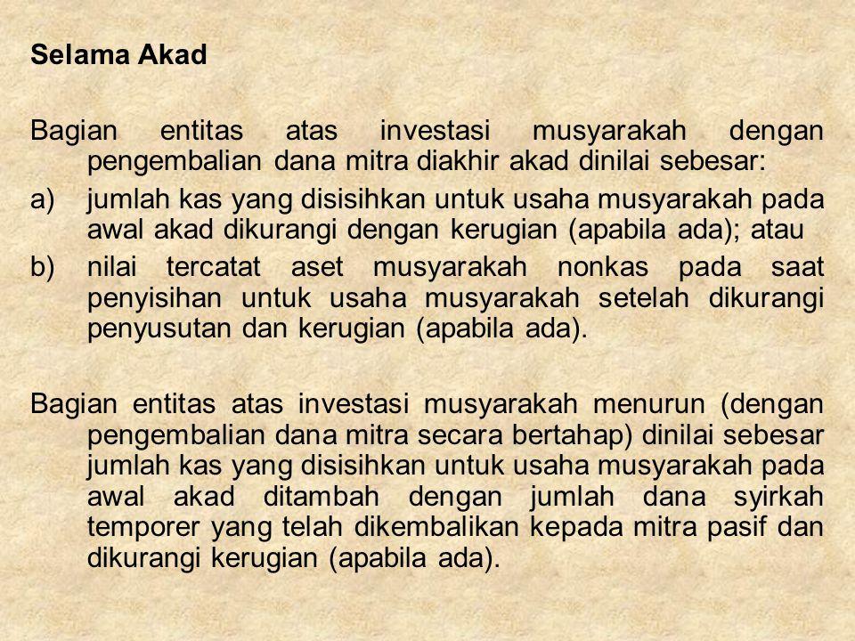 Selama Akad Bagian entitas atas investasi musyarakah dengan pengembalian dana mitra diakhir akad dinilai sebesar: a)jumlah kas yang disisihkan untuk u