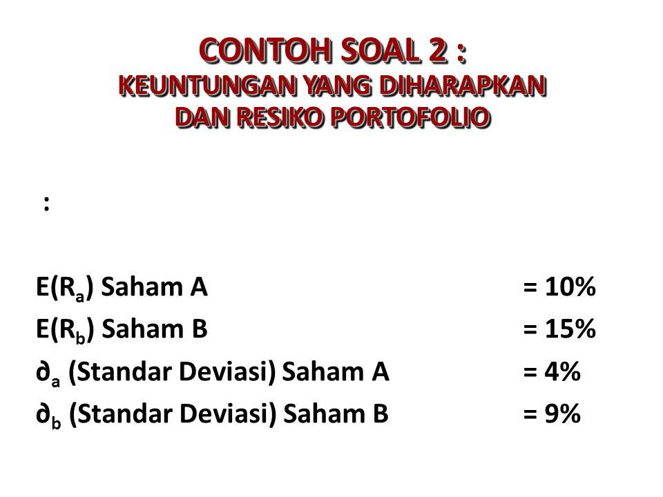 CONTOH SOAL 2 : KEUNTUNGAN YANG DIHARAPKAN DAN RESIKO PORTOFOLIO : E(R a ) Saham A= 10% E(R b ) Saham B= 15% ∂ a (Standar Deviasi) Saham A= 4% ∂ b (St
