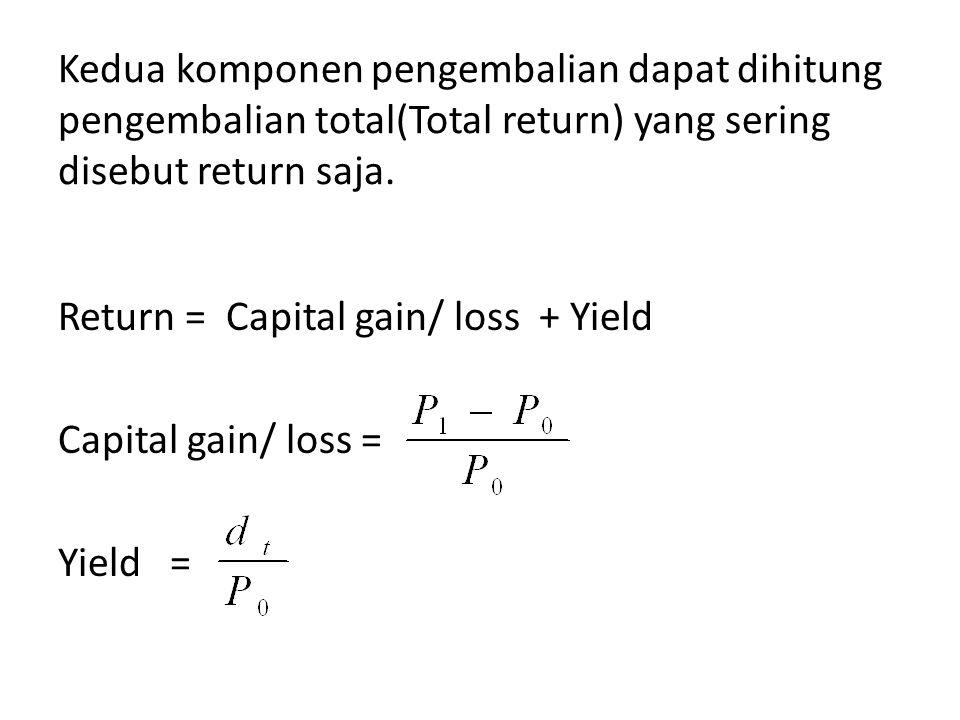 Kedua komponen pengembalian dapat dihitung pengembalian total(Total return) yang sering disebut return saja. Return = Capital gain/ loss + Yield Capit