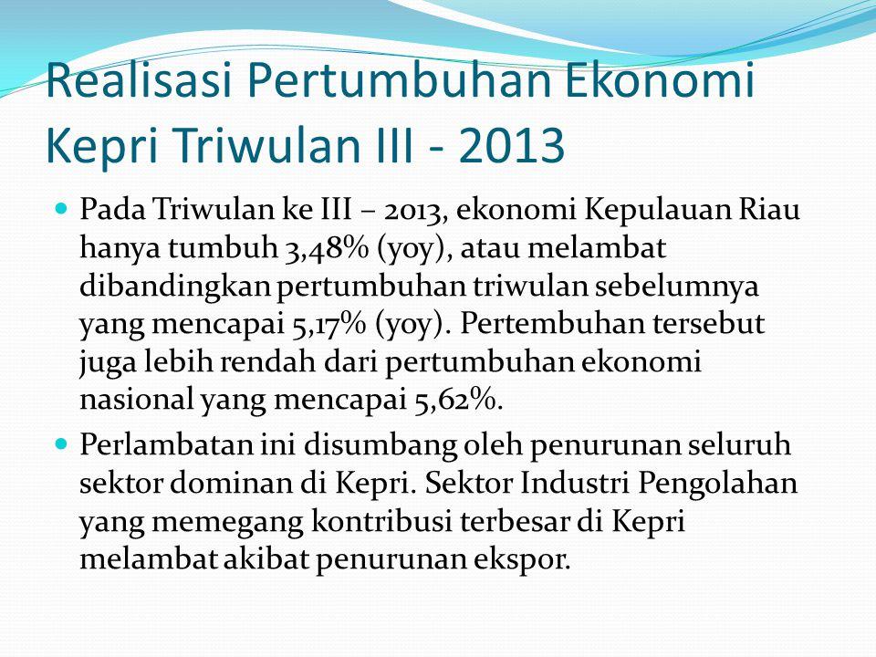 Realisasi Pertumbuhan Ekonomi Kepri Triwulan III - 2013 Pada Triwulan ke III – 2013, ekonomi Kepulauan Riau hanya tumbuh 3,48% (yoy), atau melambat dibandingkan pertumbuhan triwulan sebelumnya yang mencapai 5,17% (yoy).