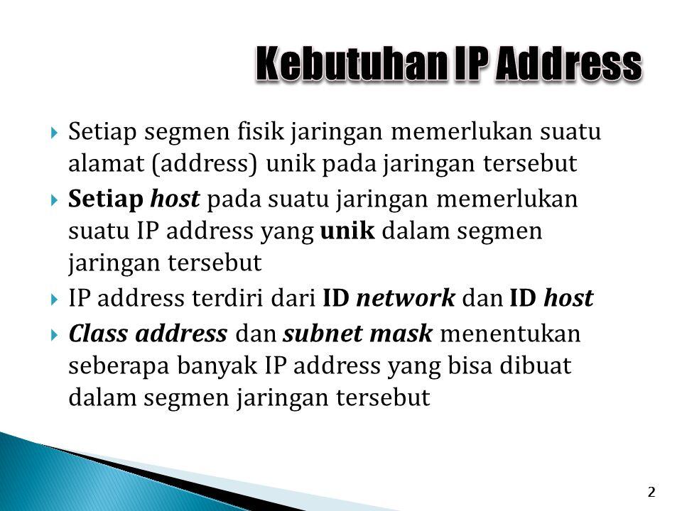  Setiap segmen fisik jaringan memerlukan suatu alamat (address) unik pada jaringan tersebut  Setiap host pada suatu jaringan memerlukan suatu IP address yang unik dalam segmen jaringan tersebut  IP address terdiri dari ID network dan ID host  Class address dan subnet mask menentukan seberapa banyak IP address yang bisa dibuat dalam segmen jaringan tersebut 2
