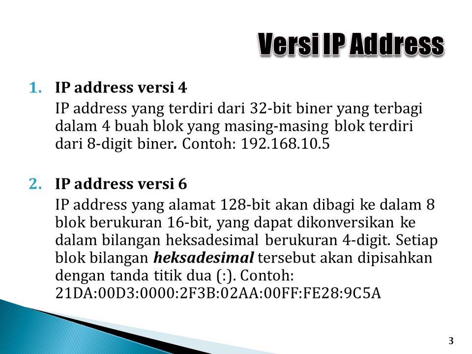 1.IP address versi 4 IP address yang terdiri dari 32-bit biner yang terbagi dalam 4 buah blok yang masing-masing blok terdiri dari 8-digit biner.