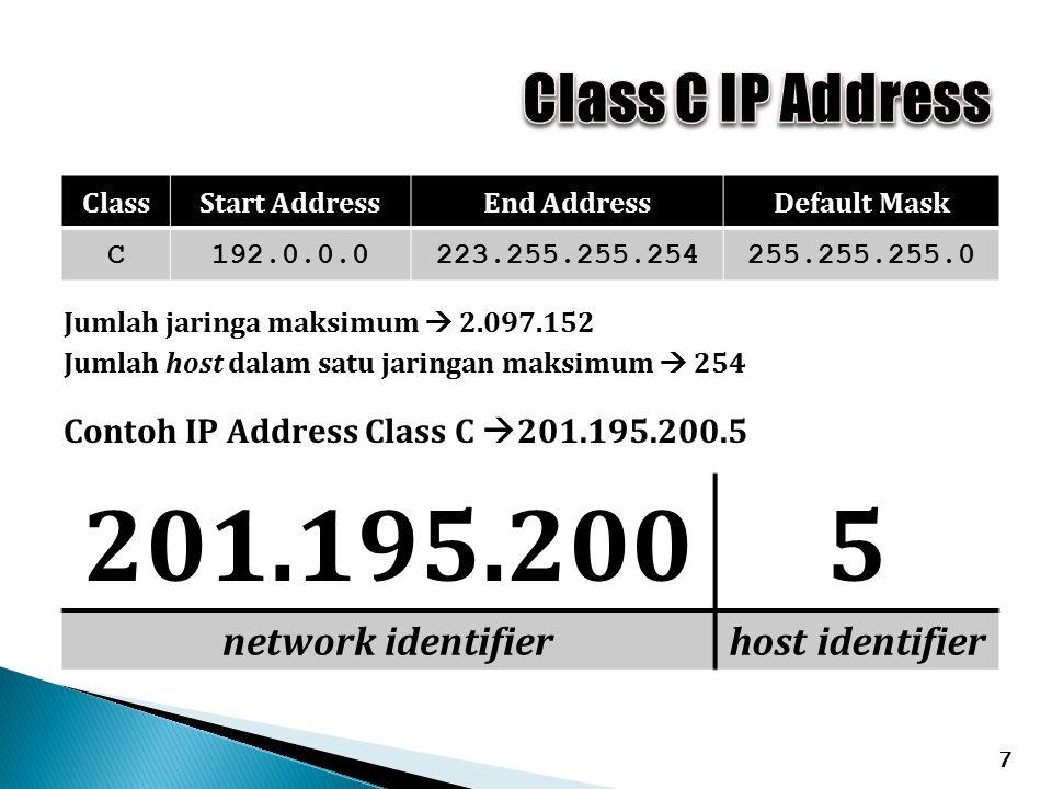 7 ClassStart AddressEnd AddressDefault Mask C192.0.0.0223.255.255.254255.255.255.0 Contoh IP Address Class C  201.195.200.5 201.195.2005 network identifierhost identifier Jumlah jaringa maksimum  2.097.152 Jumlah host dalam satu jaringan maksimum  254