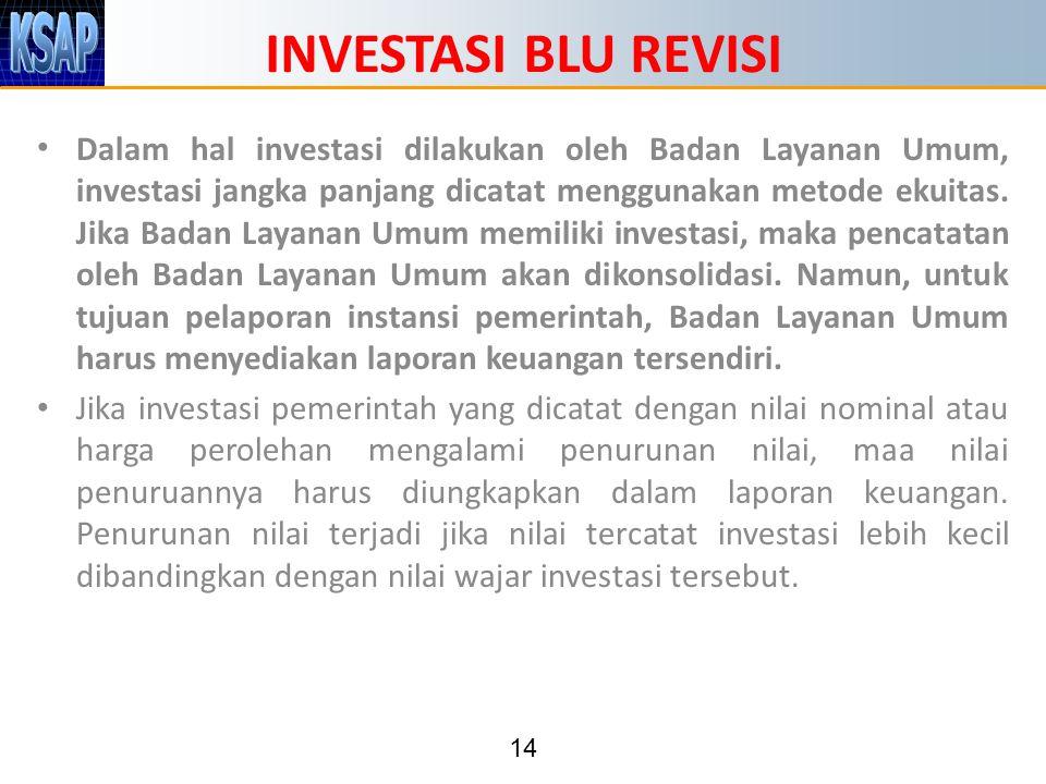 14 INVESTASI BLU REVISI Dalam hal investasi dilakukan oleh Badan Layanan Umum, investasi jangka panjang dicatat menggunakan metode ekuitas.