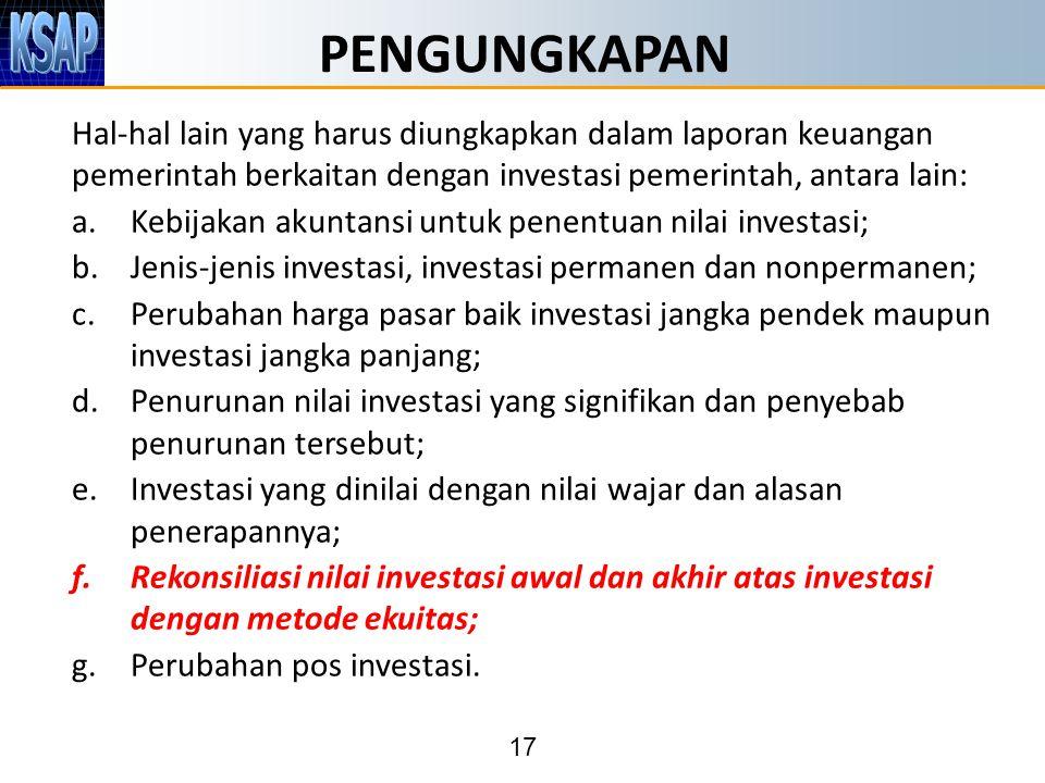 17 PENGUNGKAPAN Hal-hal lain yang harus diungkapkan dalam laporan keuangan pemerintah berkaitan dengan investasi pemerintah, antara lain: a.Kebijakan akuntansi untuk penentuan nilai investasi; b.Jenis-jenis investasi, investasi permanen dan nonpermanen; c.Perubahan harga pasar baik investasi jangka pendek maupun investasi jangka panjang; d.Penurunan nilai investasi yang signifikan dan penyebab penurunan tersebut; e.Investasi yang dinilai dengan nilai wajar dan alasan penerapannya; f.Rekonsiliasi nilai investasi awal dan akhir atas investasi dengan metode ekuitas; g.Perubahan pos investasi.