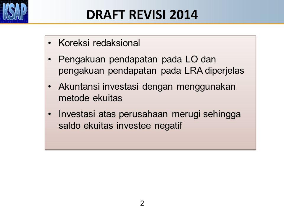 2 DRAFT REVISI 2014 Koreksi redaksional Pengakuan pendapatan pada LO dan pengakuan pendapatan pada LRA diperjelas Akuntansi investasi dengan menggunak