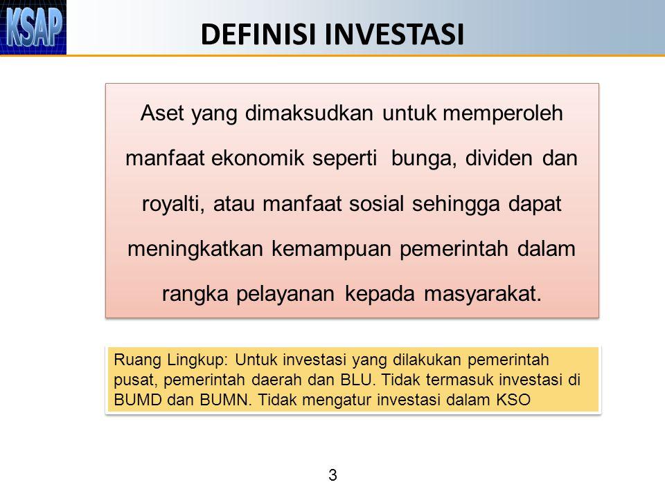3 DEFINISI INVESTASI Aset yang dimaksudkan untuk memperoleh manfaat ekonomik seperti bunga, dividen dan royalti, atau manfaat sosial sehingga dapat meningkatkan kemampuan pemerintah dalam rangka pelayanan kepada masyarakat.