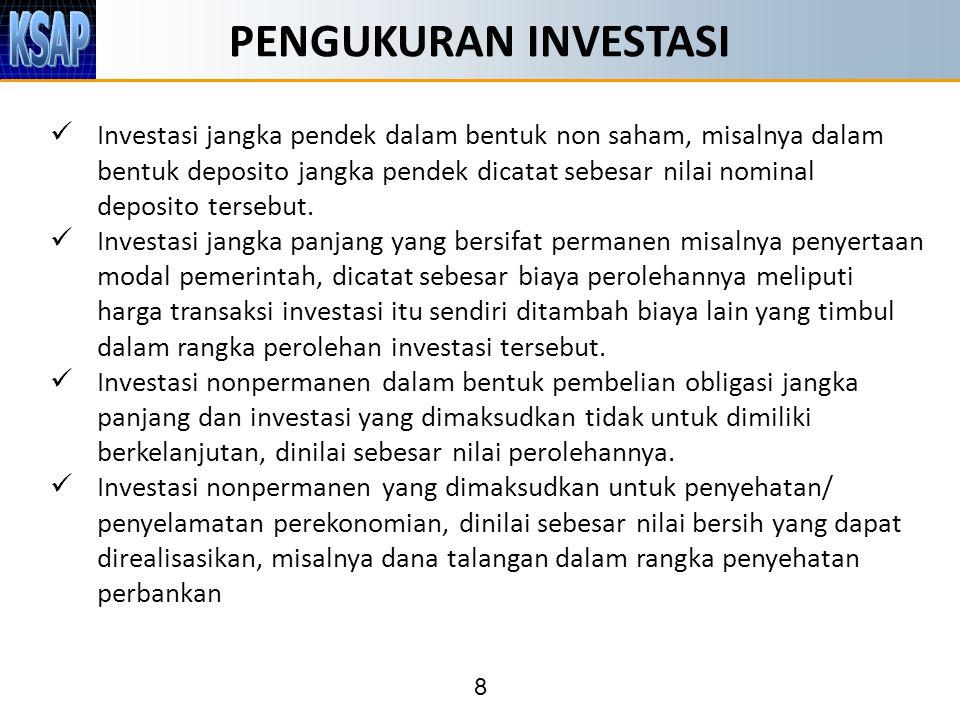 8 PENGUKURAN INVESTASI Investasi jangka pendek dalam bentuk non saham, misalnya dalam bentuk deposito jangka pendek dicatat sebesar nilai nominal deposito tersebut.