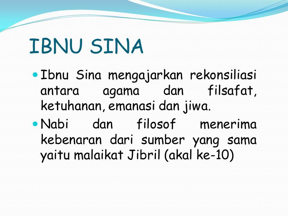 IBNU SINA Ibnu Sina mengajarkan rekonsiliasi antara agama dan filsafat, ketuhanan, emanasi dan jiwa. Nabi dan filosof menerima kebenaran dari sumber y