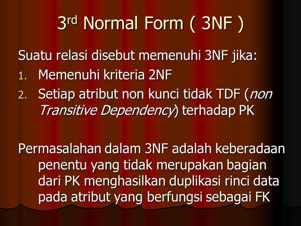 3 rd Normal Form ( 3NF ) Suatu relasi disebut memenuhi 3NF jika: 1. Memenuhi kriteria 2NF 2. Setiap atribut non kunci tidak TDF (non Transitive Depend