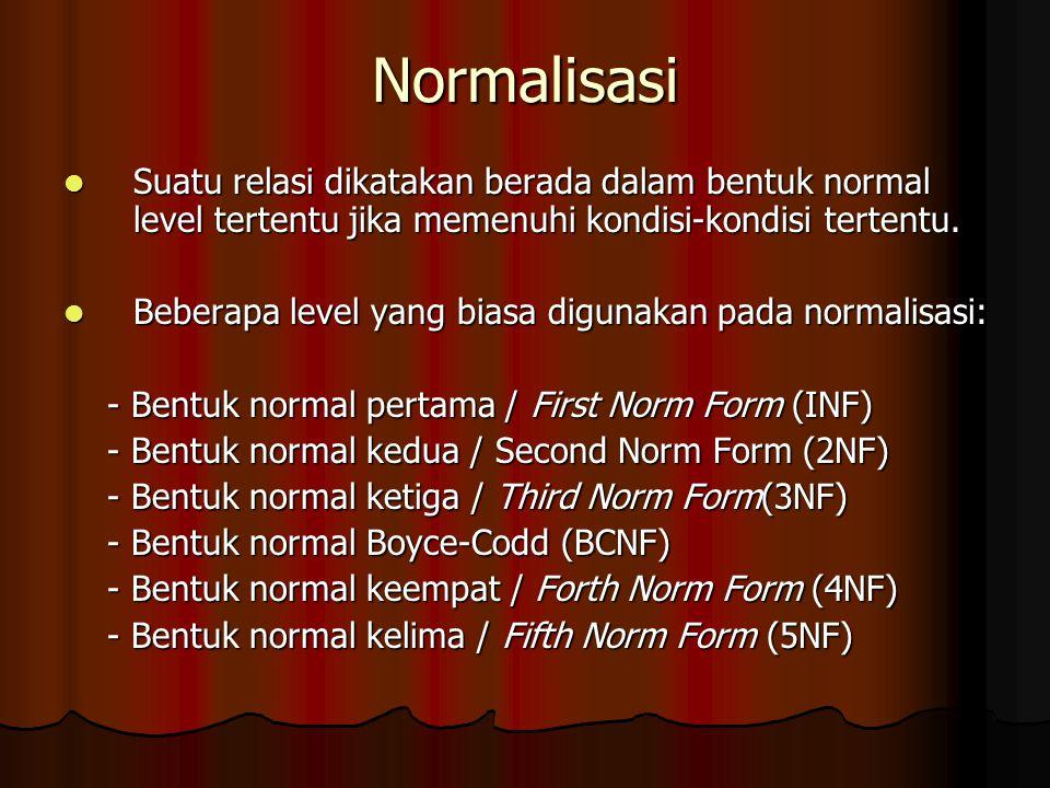 Normalisasi Suatu relasi dikatakan berada dalam bentuk normal level tertentu jika memenuhi kondisi-kondisi tertentu. Suatu relasi dikatakan berada dal
