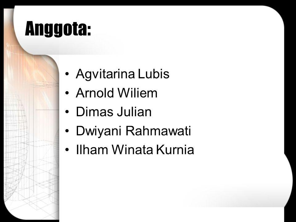 Anggota: Agvitarina Lubis Arnold Wiliem Dimas Julian Dwiyani Rahmawati Ilham Winata Kurnia