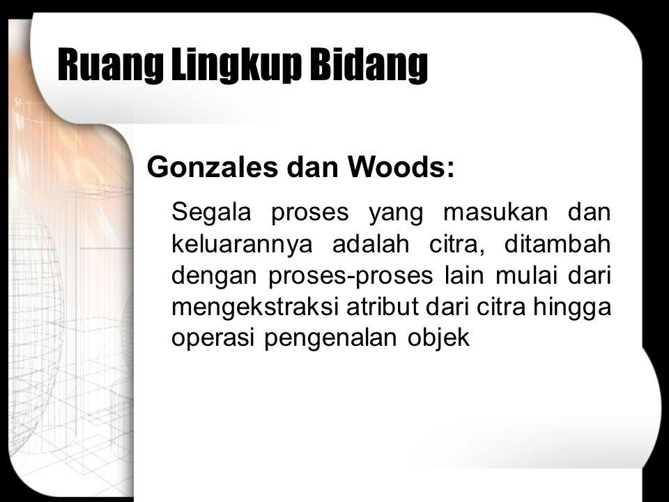 Ruang Lingkup Bidang Gonzales dan Woods: Segala proses yang masukan dan keluarannya adalah citra, ditambah dengan proses-proses lain mulai dari mengek