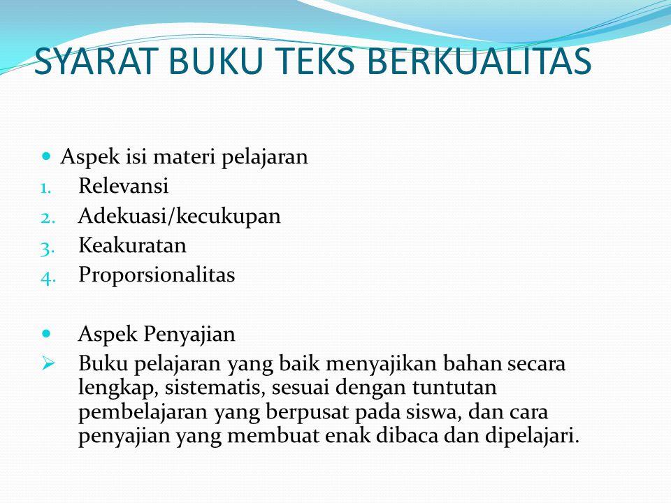 SYARAT BUKU TEKS BERKUALITAS Aspek isi materi pelajaran 1.