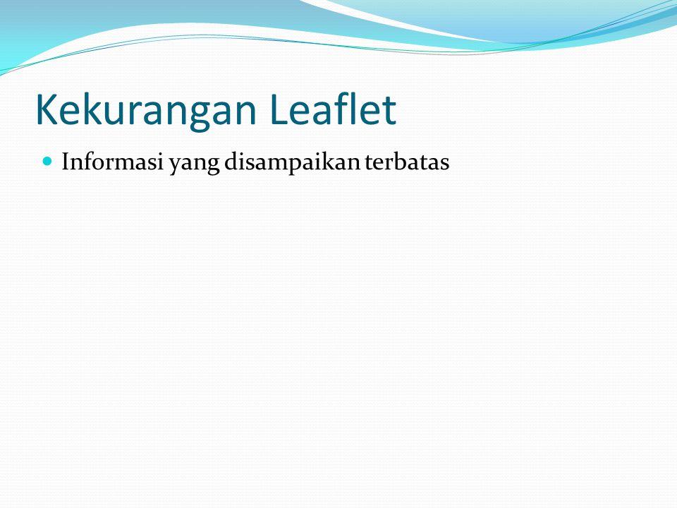 Kekurangan Leaflet Informasi yang disampaikan terbatas
