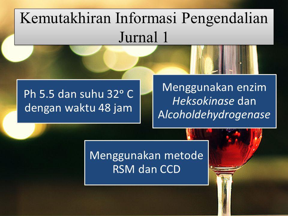 Kemutakhiran Informasi Pengendalian Jurnal 1 Ph 5.5 dan suhu 32ᵒ C dengan waktu 48 jam Menggunakan enzim Heksokinase dan Alcoholdehydrogenase Menggunakan metode RSM dan CCD