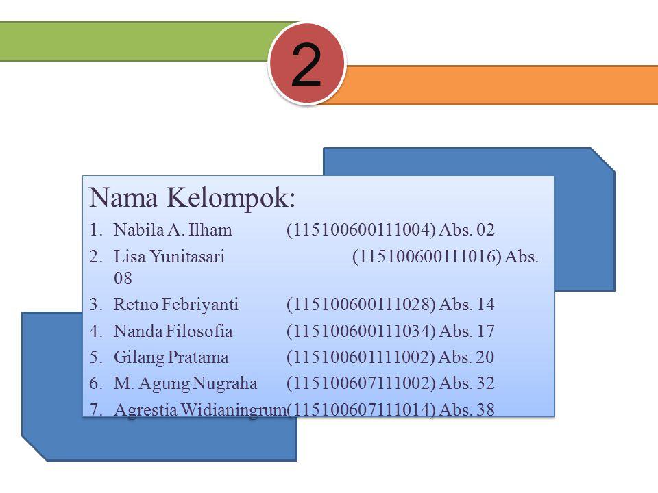 Nama Kelompok: 1.Nabila A. Ilham(115100600111004) Abs.