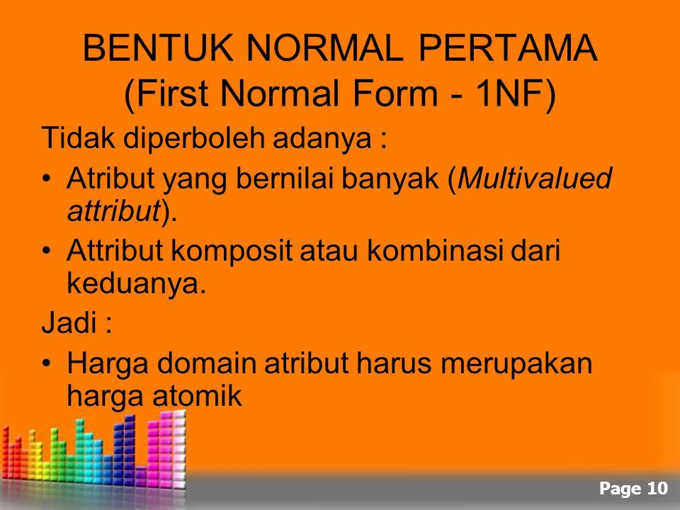 Page 10 BENTUK NORMAL PERTAMA (First Normal Form - 1NF) Tidak diperboleh adanya : Atribut yang bernilai banyak (Multivalued attribut). Attribut kompos