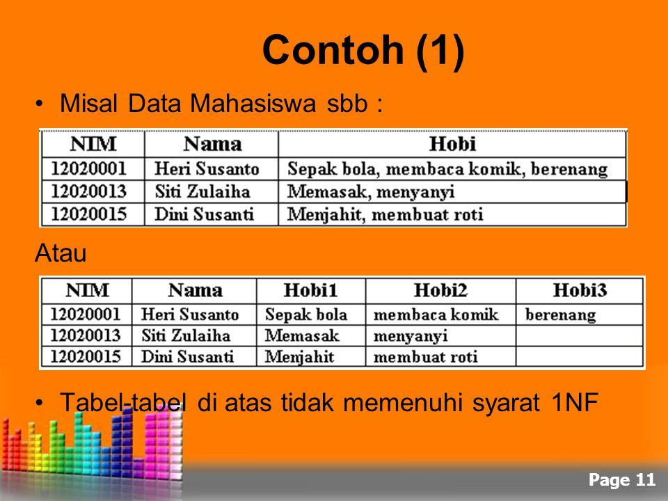 Page 11 Contoh (1) Misal Data Mahasiswa sbb : Atau Tabel-tabel di atas tidak memenuhi syarat 1NF