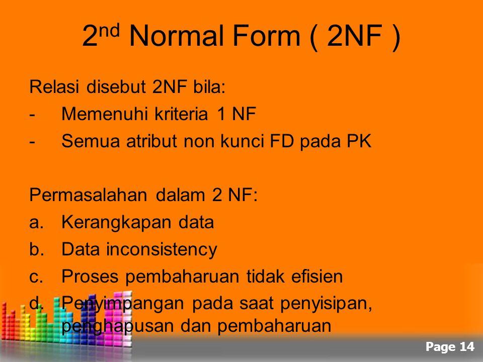 Page 14 2 nd Normal Form ( 2NF ) Relasi disebut 2NF bila: -Memenuhi kriteria 1 NF -Semua atribut non kunci FD pada PK Permasalahan dalam 2 NF: a.Keran
