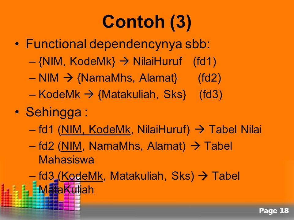 Page 18 Contoh (3) Functional dependencynya sbb: –{NIM, KodeMk}  NilaiHuruf (fd1) –NIM  {NamaMhs, Alamat} (fd2) –KodeMk  {Matakuliah, Sks} (fd3) Se