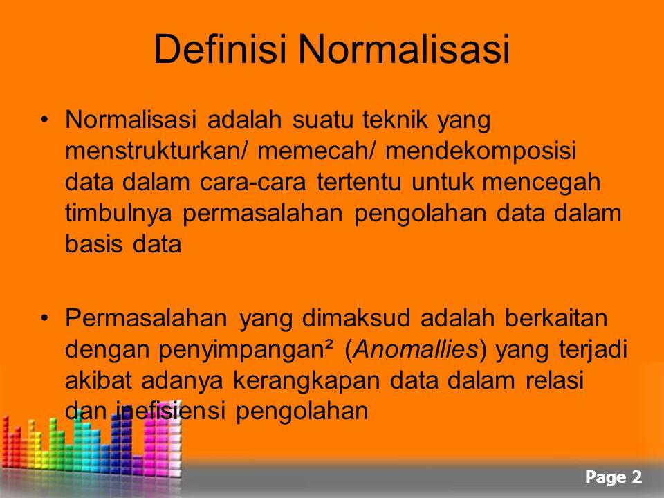 Page 2 Definisi Normalisasi Normalisasi adalah suatu teknik yang menstrukturkan/ memecah/ mendekomposisi data dalam cara-cara tertentu untuk mencegah
