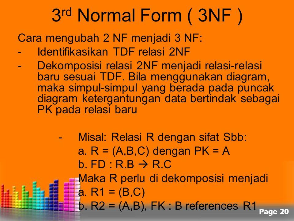 Page 20 3 rd Normal Form ( 3NF ) Cara mengubah 2 NF menjadi 3 NF: -Identifikasikan TDF relasi 2NF -Dekomposisi relasi 2NF menjadi relasi-relasi baru s