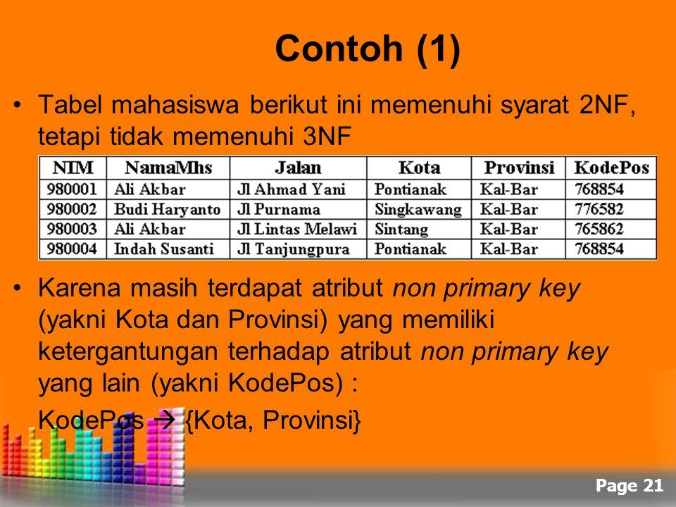 Page 21 Contoh (1) Tabel mahasiswa berikut ini memenuhi syarat 2NF, tetapi tidak memenuhi 3NF Karena masih terdapat atribut non primary key (yakni Kot