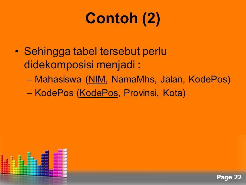 Page 22 Contoh (2) Sehingga tabel tersebut perlu didekomposisi menjadi : –Mahasiswa (NIM, NamaMhs, Jalan, KodePos) –KodePos (KodePos, Provinsi, Kota)