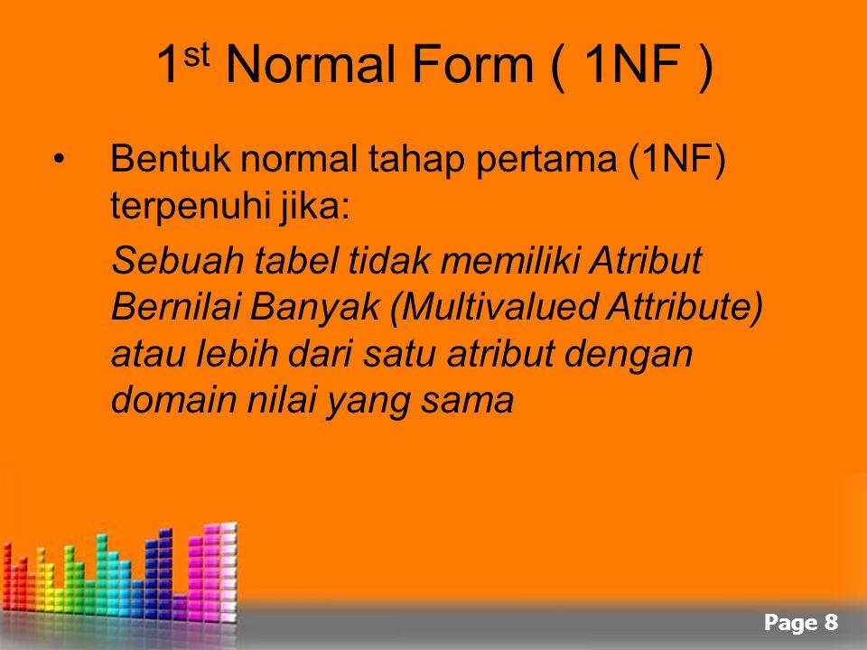 Page 8 1 st Normal Form ( 1NF ) Bentuk normal tahap pertama (1NF) terpenuhi jika: Sebuah tabel tidak memiliki Atribut Bernilai Banyak (Multivalued Att