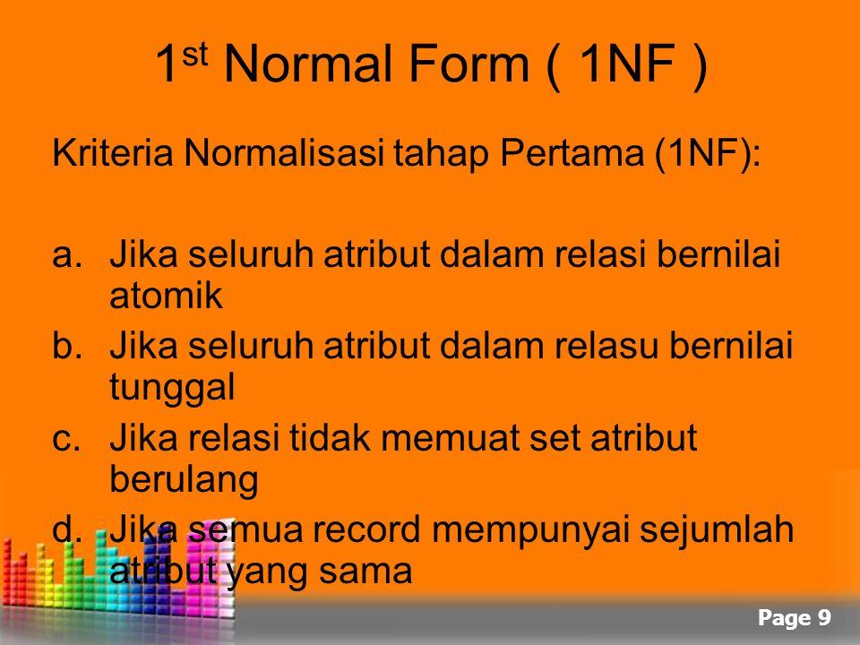 Page 9 1 st Normal Form ( 1NF ) Kriteria Normalisasi tahap Pertama (1NF): a.Jika seluruh atribut dalam relasi bernilai atomik b.Jika seluruh atribut d