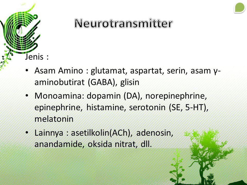 Jenis : Asam Amino : glutamat, aspartat, serin, asam γ- aminobutirat (GABA), glisin Monoamina: dopamin (DA), norepinephrine, epinephrine, histamine, s