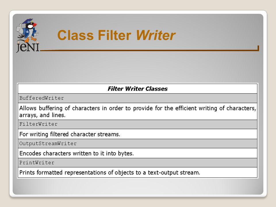 Contoh Dasar Reader/Writer 1 import java.io.*; 2 class CopyFile { 3 void copy(String input, String output) { 4 FileReader reader; 5 FileWriter writer; 6 int data; 7 try { 8 reader = new FileReader(input); 9 writer = new FileWriter(output); 10 //berlanjut...