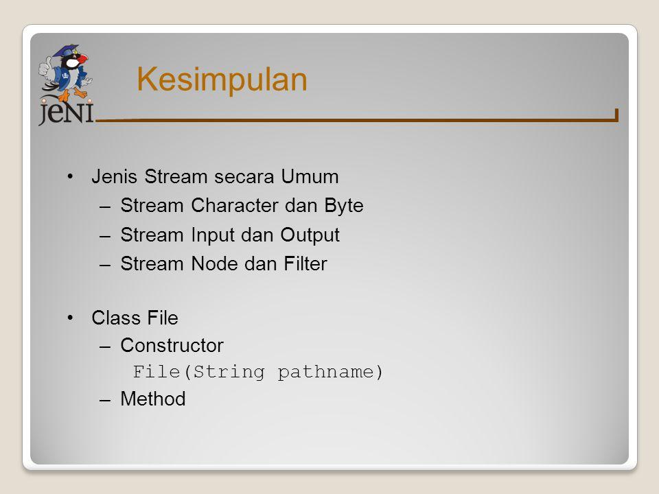 Kesimpulan Class Reader –Method read, close, mark, markSupported, reset –Class Node Reader FileReader, CharArrayReader, StringReader, PipedReader –Class Filter Reader BufferedReader, FilterReader, InputStreamReader, LineNumberReader, PushbackReader
