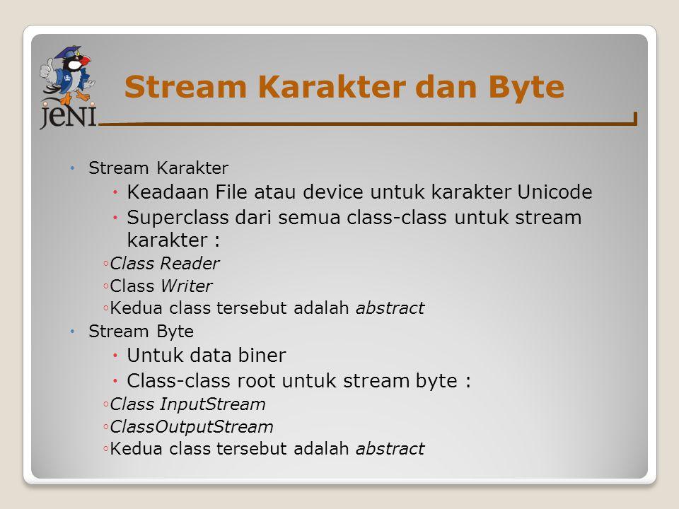 Stream Input dan Output  Input atau stream sumber  Dari stream ini dapat membaca  Superclass dari semua input streams: ◦ class InputStream ◦ class Reader  Output  Kita dapat menulis pada stream ini  Class root dari stream ini: ◦ Class OutputStream ◦ Class Writer