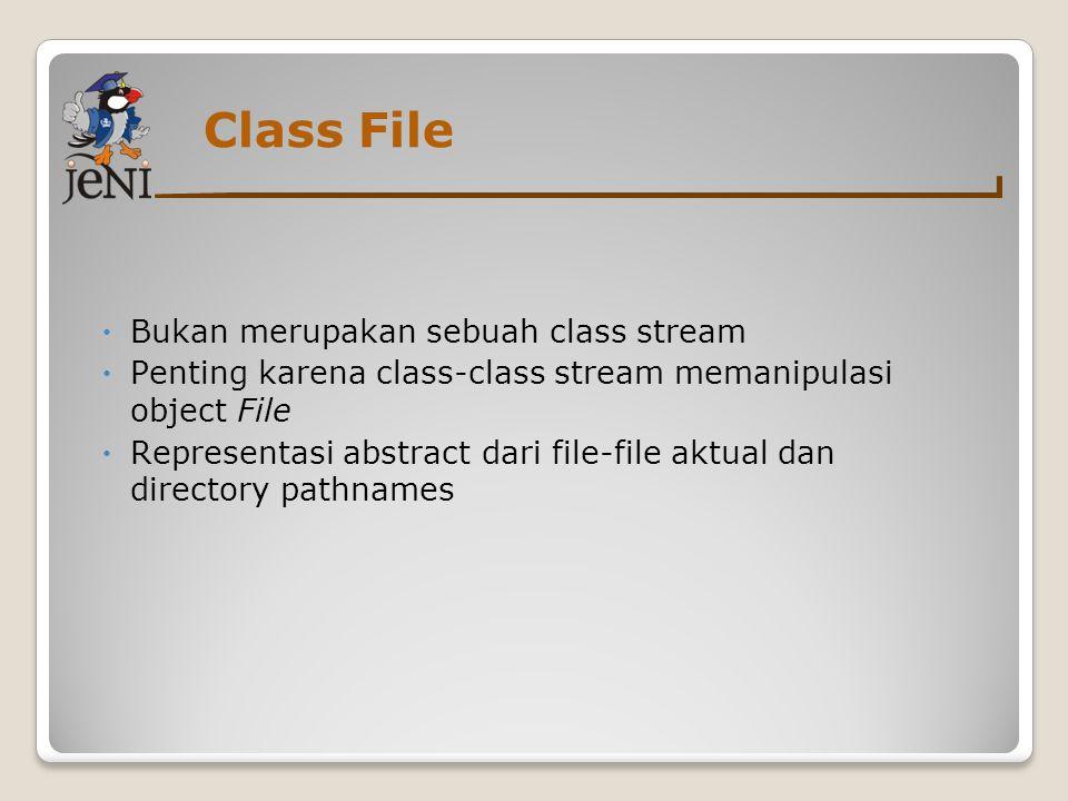 Class File  Bukan merupakan sebuah class stream  Penting karena class-class stream memanipulasi object File  Representasi abstract dari file-file a